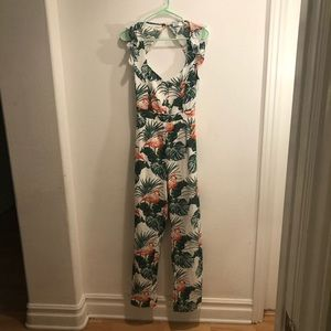 Forever 21 Tropical Backless Jumpsuit
